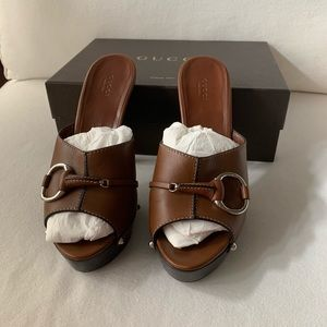 Gucci Shoes - GUCCI Leather Brown High Heel Sandal | Size 41